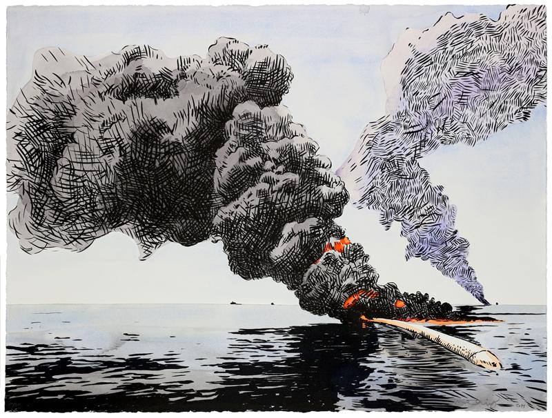 Matthew Hindley  Black Gold  Screenprint  56 x 76 cm