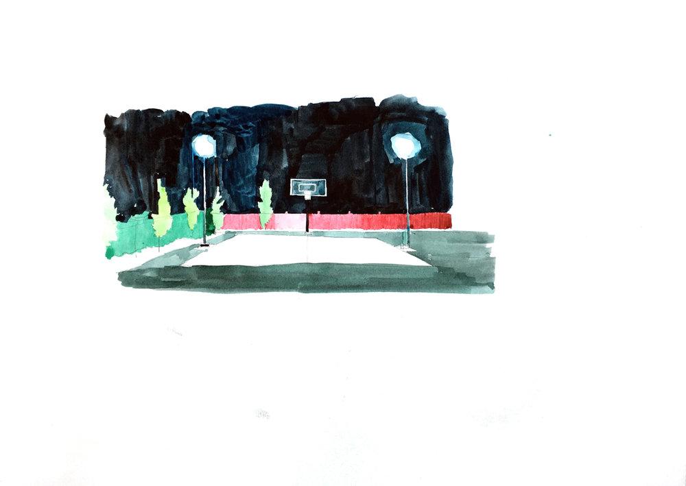 Daniel Nel  Court  Watercolour on paper  21 x 29.7 cm