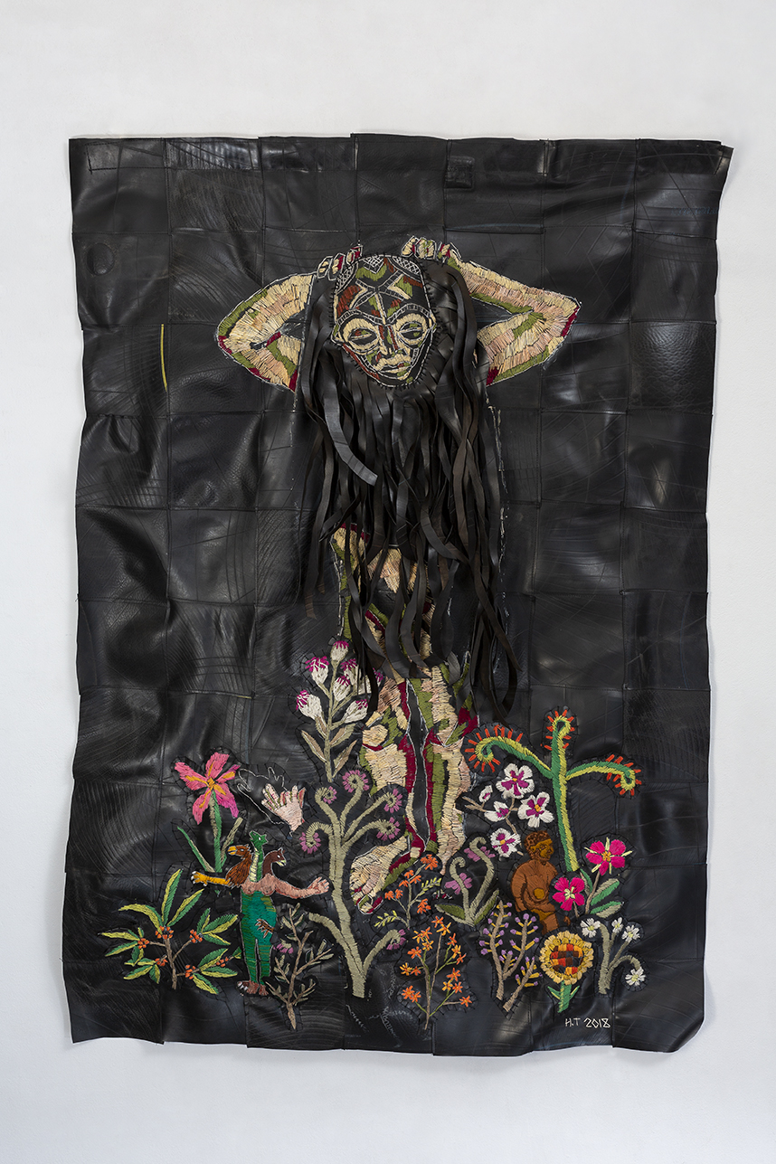 Her dark side | Cotton thread, batting and rubber | 141 x 95 cm