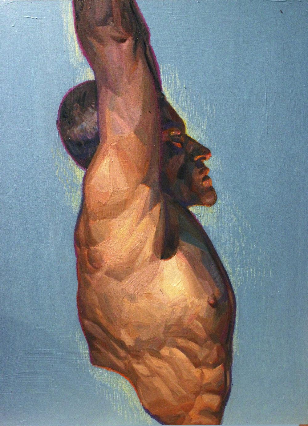 Blue 1: 102cm x 120cm oil paint and oil pastel on canvas