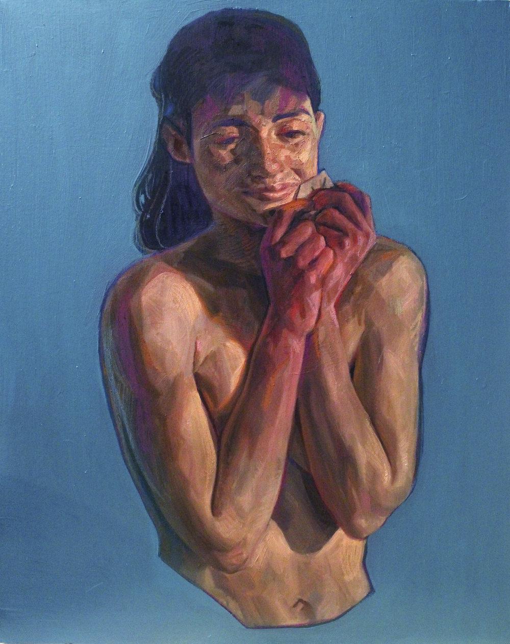 Blue 2: 85cm x 110cm oil paint and oil pastel on canvas