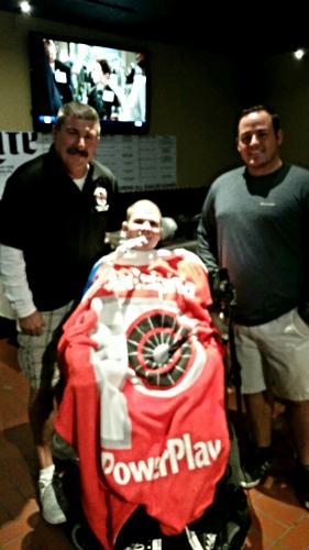 Firefighter V. Gasbarro and B. Lynch with PowerPlay's Pat Hilferty