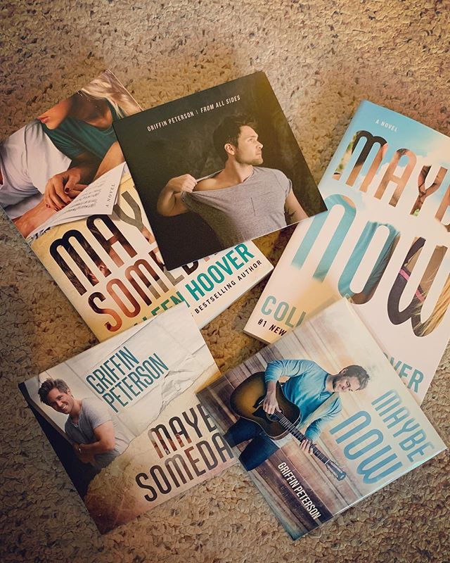 "FREE STUFF. Who wants all of these? Just tag a friend below to enter and I'll pick a winner tomorrow afternoon! Also, if you can't wait for a CD copy of ""Maybe Now"". We now have them available over on the website! Link in the bio  Both books signed by @colleenhoover"