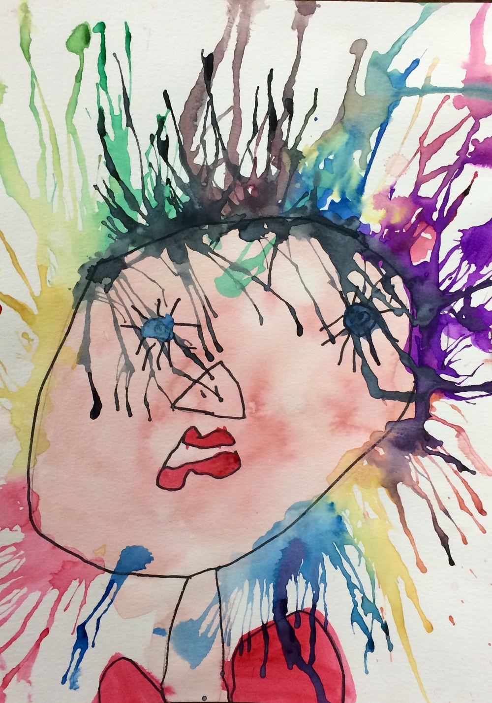 Emilie, age 6, Self Portrait with Crazy Hair