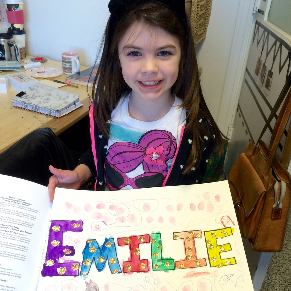 Emilie, age 6, Name Design (with glitter!)