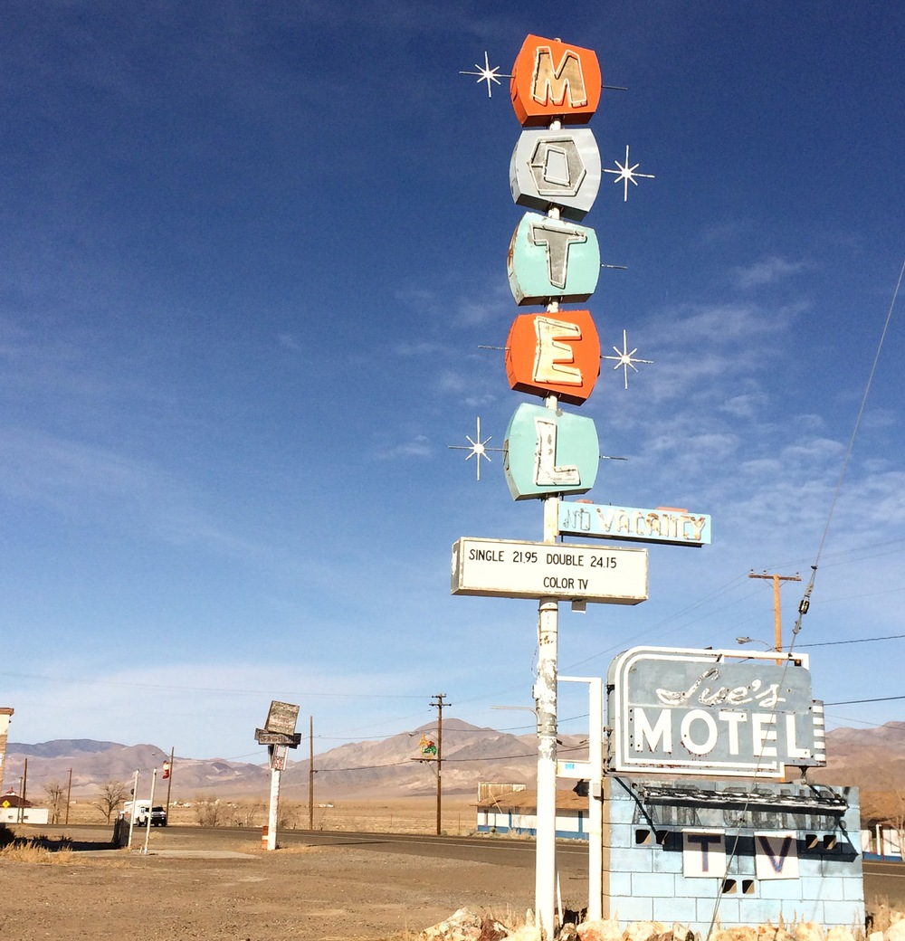 Some ghost town in the middle of Nevada. Color TV!