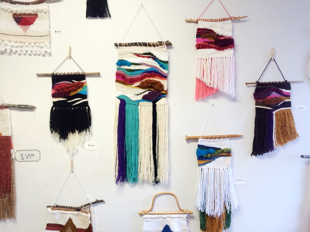 Weaving Display at Boneyard Arts Festival 2016, at the Lincoln Building, downtown Champaign, IL.