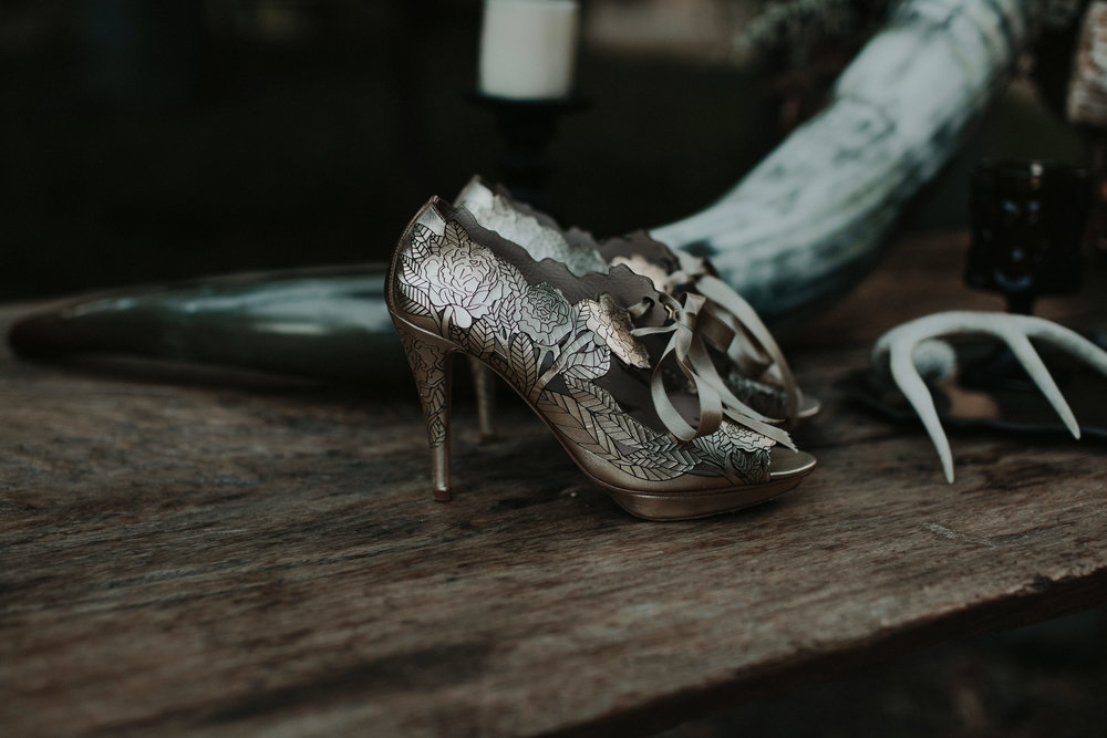 Vintage Haunted Harvest - Wedding Inspiration - Harriet Wilde Peony Gold Shoes - The Blushing Bird