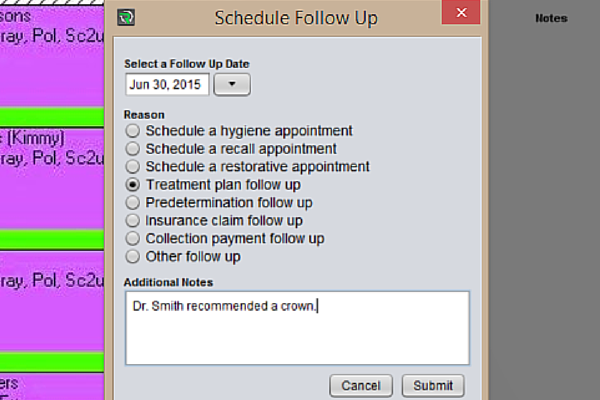 Recall System Pro follow up feature allows for easy booking and reminders.