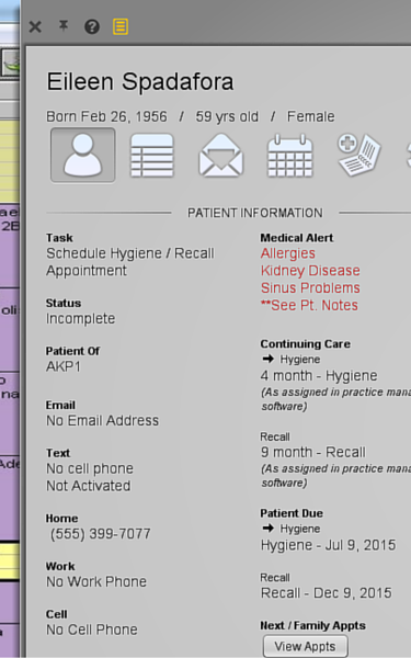 Patient contact window screen shot