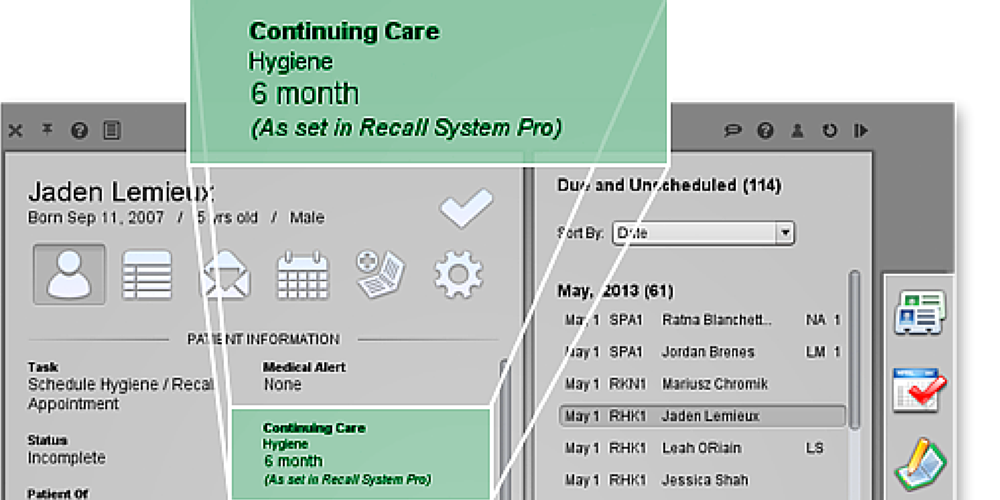 Automatic continuing care and future treatment dates example
