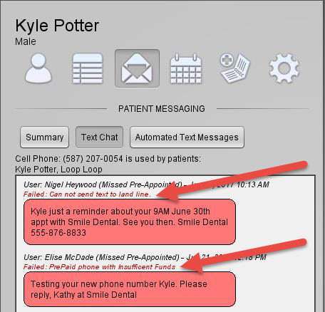 If an SMS message fails after it is sent, Recall System Pro will display the failed message status in either the Text Chat Window...
