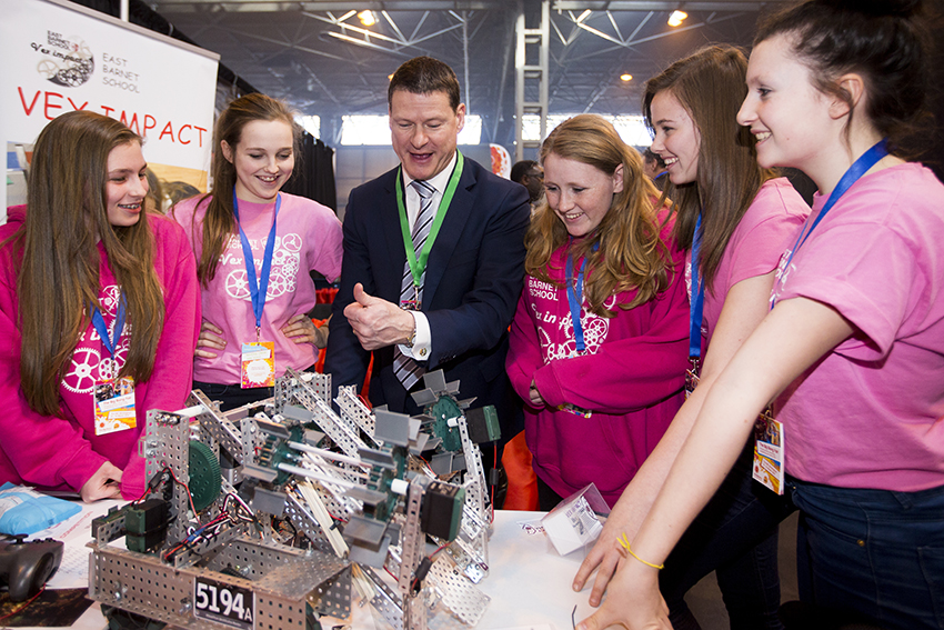 National Grid Chief Executive Steve Holliday with 'VEX Impact' - UK National Champions 2014 at the VEX Robotics Competition UK National Finals.