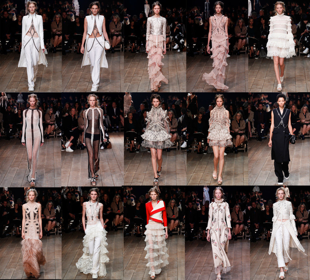 Alexander McQueen SS/16 Ready To Wear. When I look at this collection, I see an almost underwater aquarian feel to the images with the frills on the pieces almost like fins on an angel fish. The complicated structures akin to a coral reef, bustling with complexity and life this is especially prevalent in the 2nd rows third and fourth images pieces. What also resonates with me on a personal level is the strong structured panels in the the first and second images in row one and the final image in row three. These speak to me of a strong modern warrior. An intellect of this time, acutely aware of the past but very much of the moment. Image one of row three reminds me of a Mongolian horse warrior. The armour on top and the long wisps of hair below the horse. A perfect fusion of the two. The panelled piece in the final image of row three also reminds me of the Mongolian warriors. The fishnet pieces in the first two images of row two, merge all three ideas to me, the fishnet reminiscent of fish scales, but also a nod to the rebellious punk mentality and chain mail, with the sleek form fitting dress, to me it says that this is a strong woman modern woman, ready for anything. A warrior