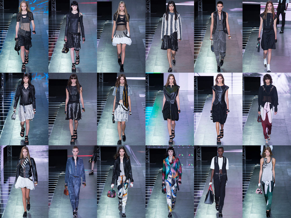 I chose the Louis Vuitton SS16 Ready To Wear collection again because it resonated with me. It spoke to me of a modern warrior, respectfully aware of their past but but also looking to the future. With nods to the 80's goth styles with the use of fishnet in the first 3 images of row 1. The cuts of the skirts in these images reminds me of grecian warriors with the panels. The sandals/shoes in a number of images is also reminscent of grecian warriors. The heavy use of leather also speaks to me, reminding me of armour. I also like the sparse use of colour in these garments, with the most colourful pieces being the trousers or spray painted leather jacket. The theme to me is a modern punk warrior, which is an apt reflection of our current political climate. We are on the verge of of wars, destroying the planet, the goverments and the powers that be are telling us that everything is okay and that the planet will be fine. But these are educated women, women who are rebelling against the status quo and forging their own path on the basis of their own intellect.
