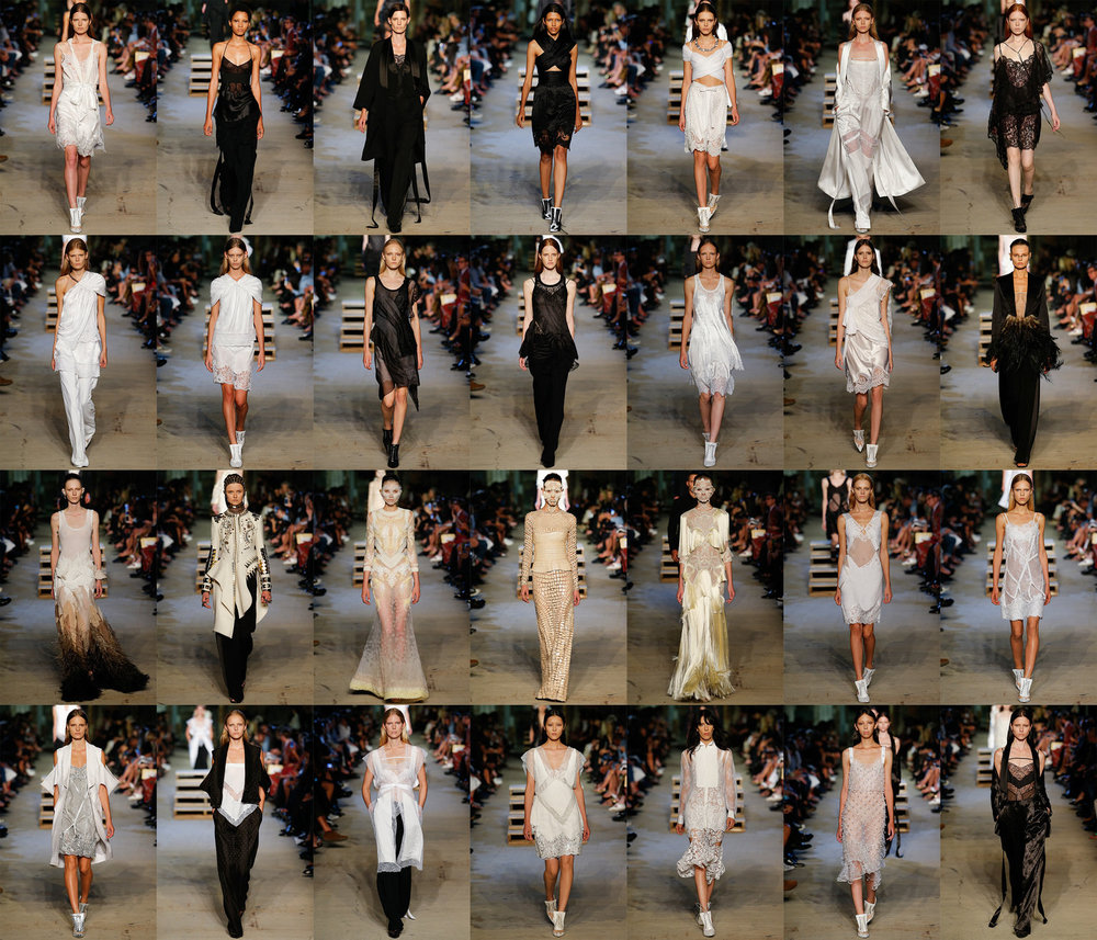 Givenchy SS/16 Ready To Wear. Again to me the Givenchy theme to me felt almost aquatic in places with the cut of the sleeves, this is particularly clear in row four, images 1 through 4. The aquatic theme again to me was clear in row three images one, three, four and five. In image one it's as if her skirt is made of seaweed, image 3 as if she is encased in a jellyfish skin. Maybe this is a nod to us overfishing the oceans. Again a to me there was a grecian feel to certain pieces row two images one and two. Image one especially is as if she is wearing a fine toga. Some of the pieces are also very reminiscent negligee with fine lace being used and silks. The theme to me is of a politically aware night time woman, who by in certain pieces has her face covered by an intricate face mask is a complex woman, incredibly complex and articulate, who is aware of her womanhood but does not require her sexuality to make a statement but is also aware of the power of her sexuality. She is a strong, intellectual, complex and political woman who feels comfortable at night.