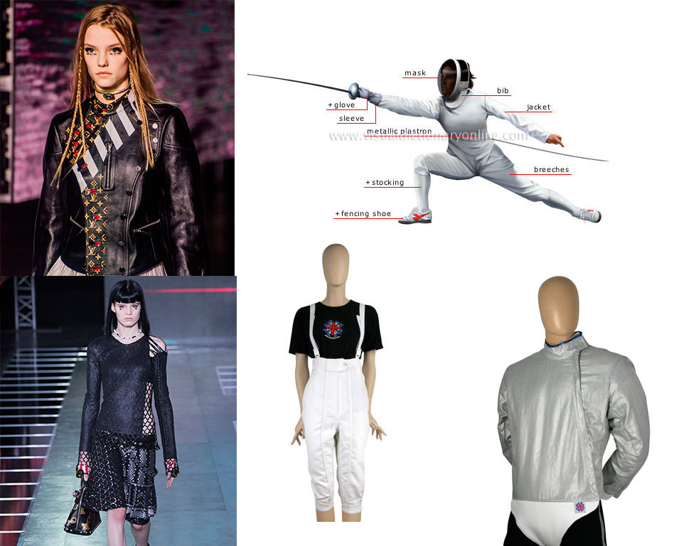 Looking at Ghesquière's pieces it's clear to see the athletic influence in the cuts of his clothes. For instance bot of these pieces are very reminiscent of a fencers jacket, with clear cuts up the left hand side of each garment.