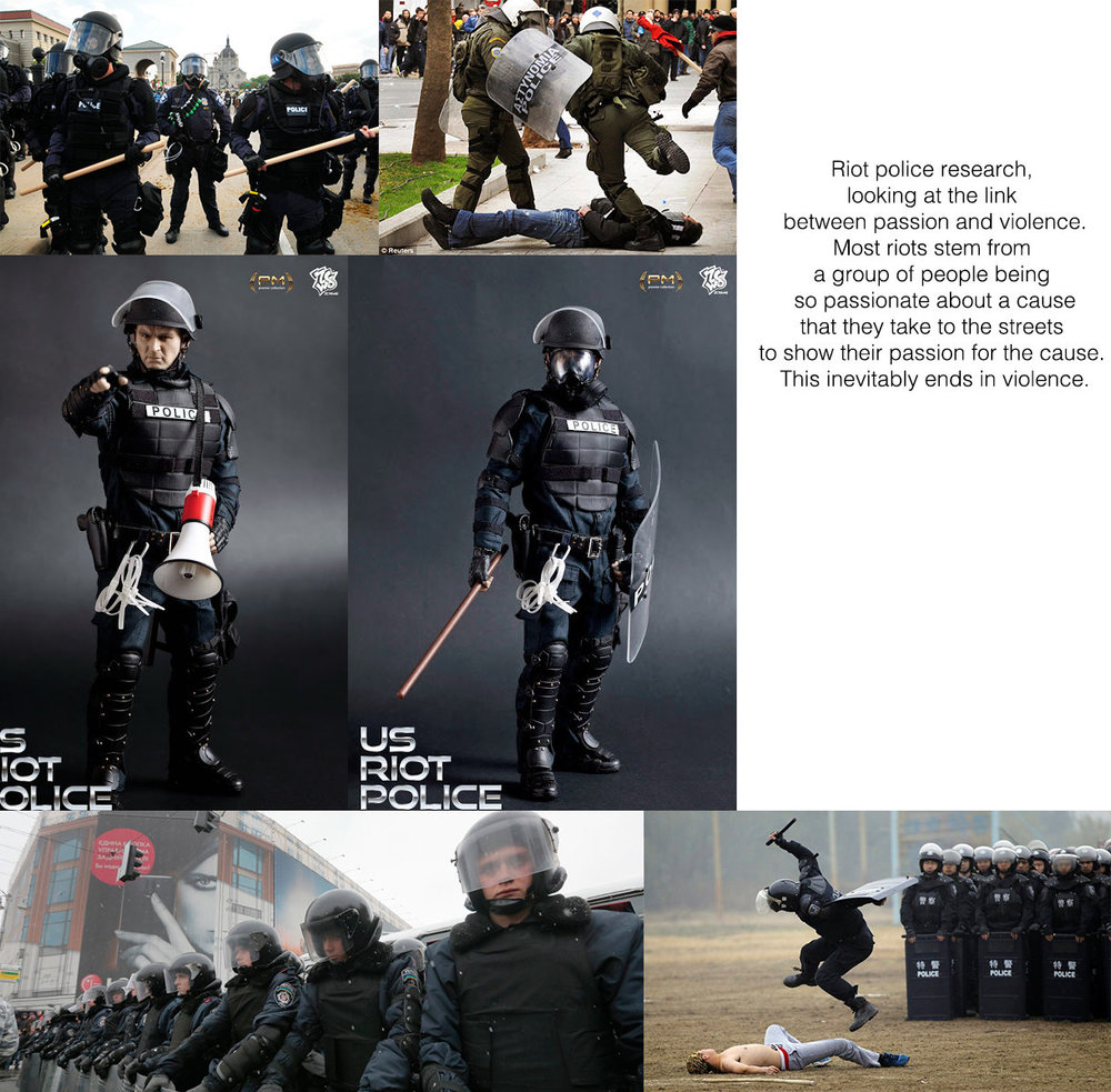 I Initially created this to look at riot police uniforms but realised when making it the links between passion and violence and repression.