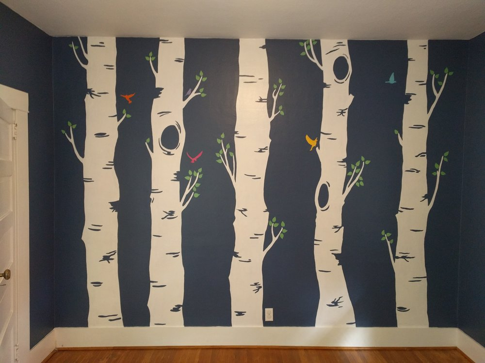 Birch Tree Bedroom Mural