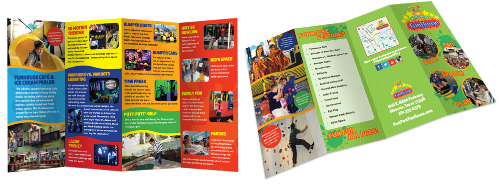 4-Panel Brochure created for family entertainment center Putt-Putt FunHouse - showcasing their variety of family-fun activities, including attractions, an arcade, and a cafe.