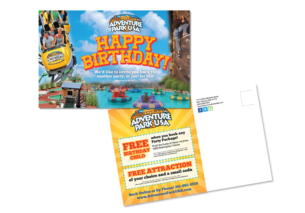 Mailer created by Dion Marketing for Adventure Park USA, Maryland's largest family entertainment center.