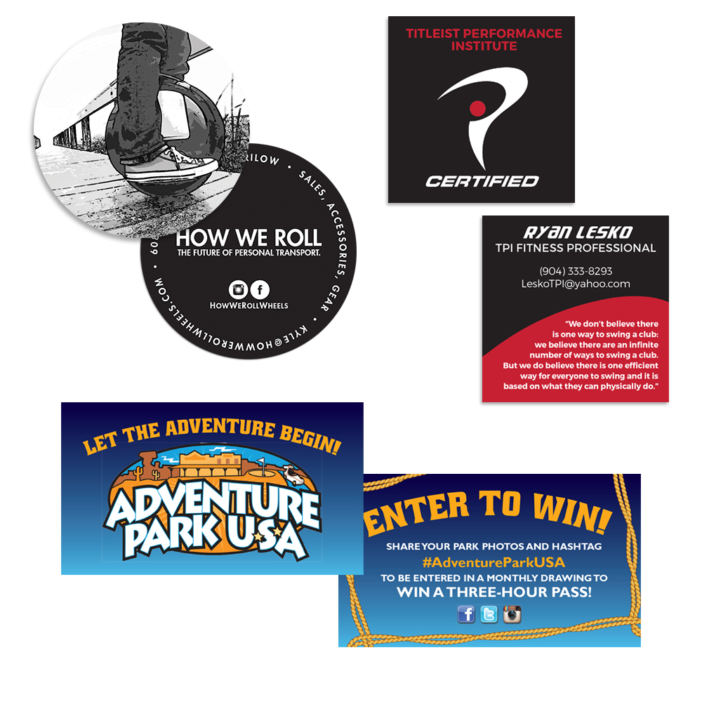 Options include circular, square, and standard shaped business cards.