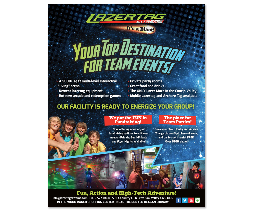 Advertisement created for Lazertag Extreme that was placed in a Youth Football League program, targeted towards school age children and their families.