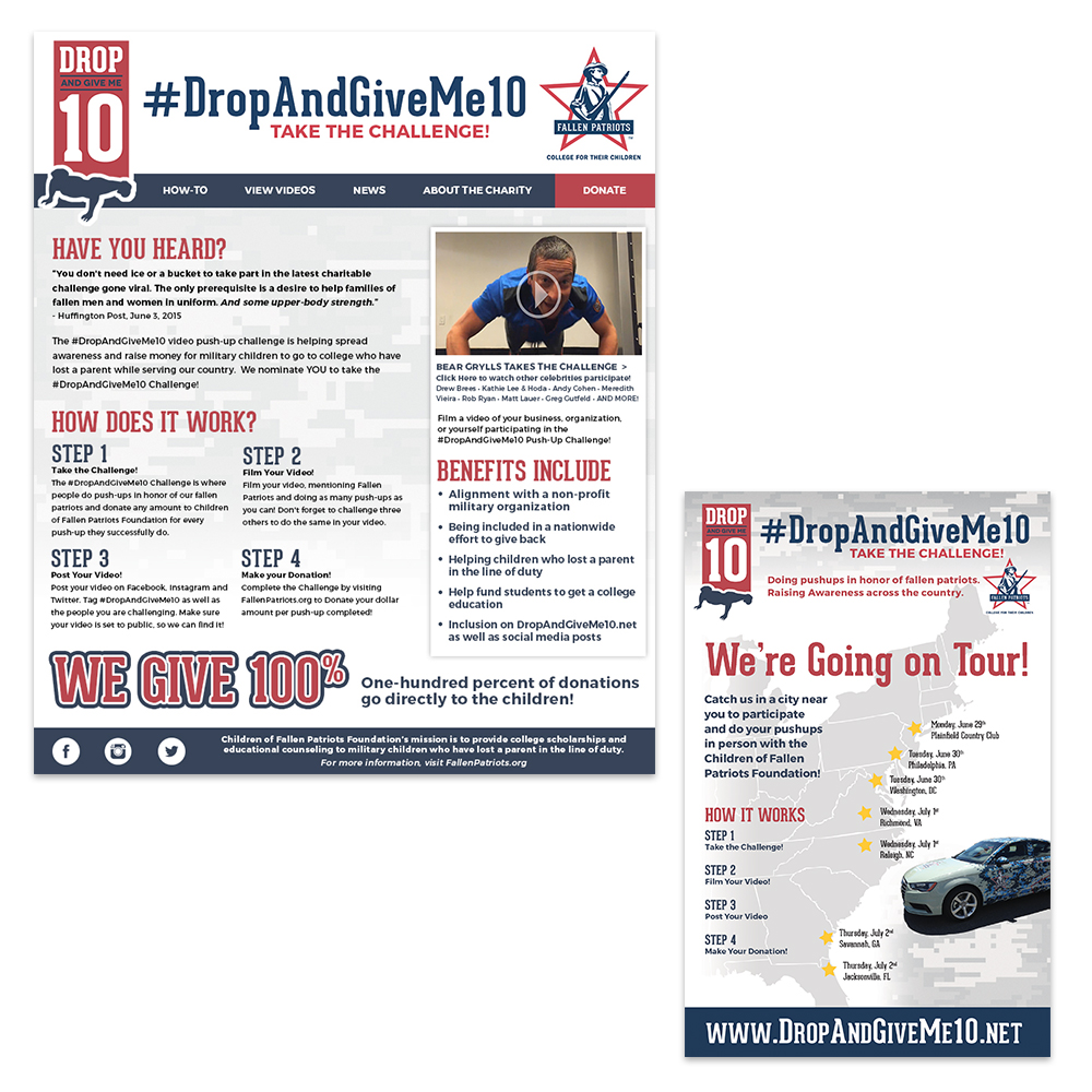 Emails created to raise awareness and notify people about the Drop and Give Me 10 Challenge.