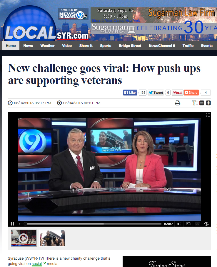 Syracuse News Channel 9 covers the #DropAndGiveMe10 Challenge