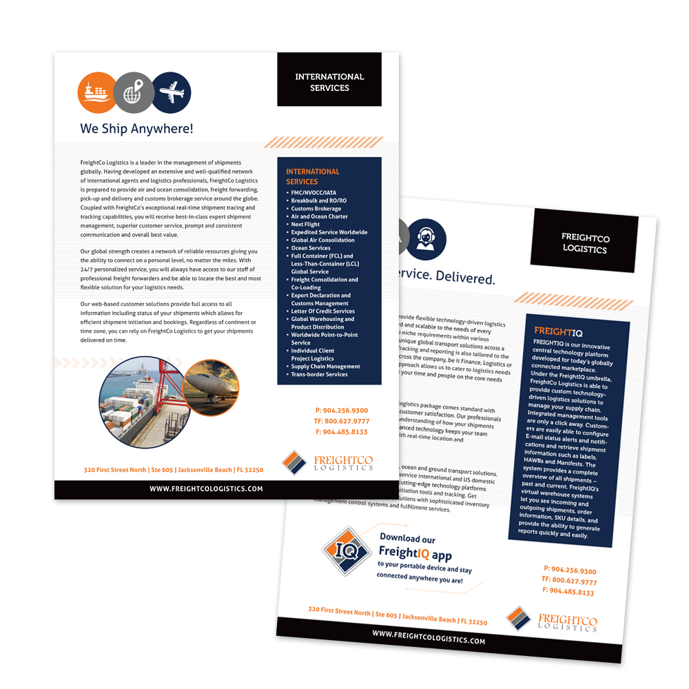 New informational inserts created to let current and future customers know about the different services FreightCo Logistics offers.
