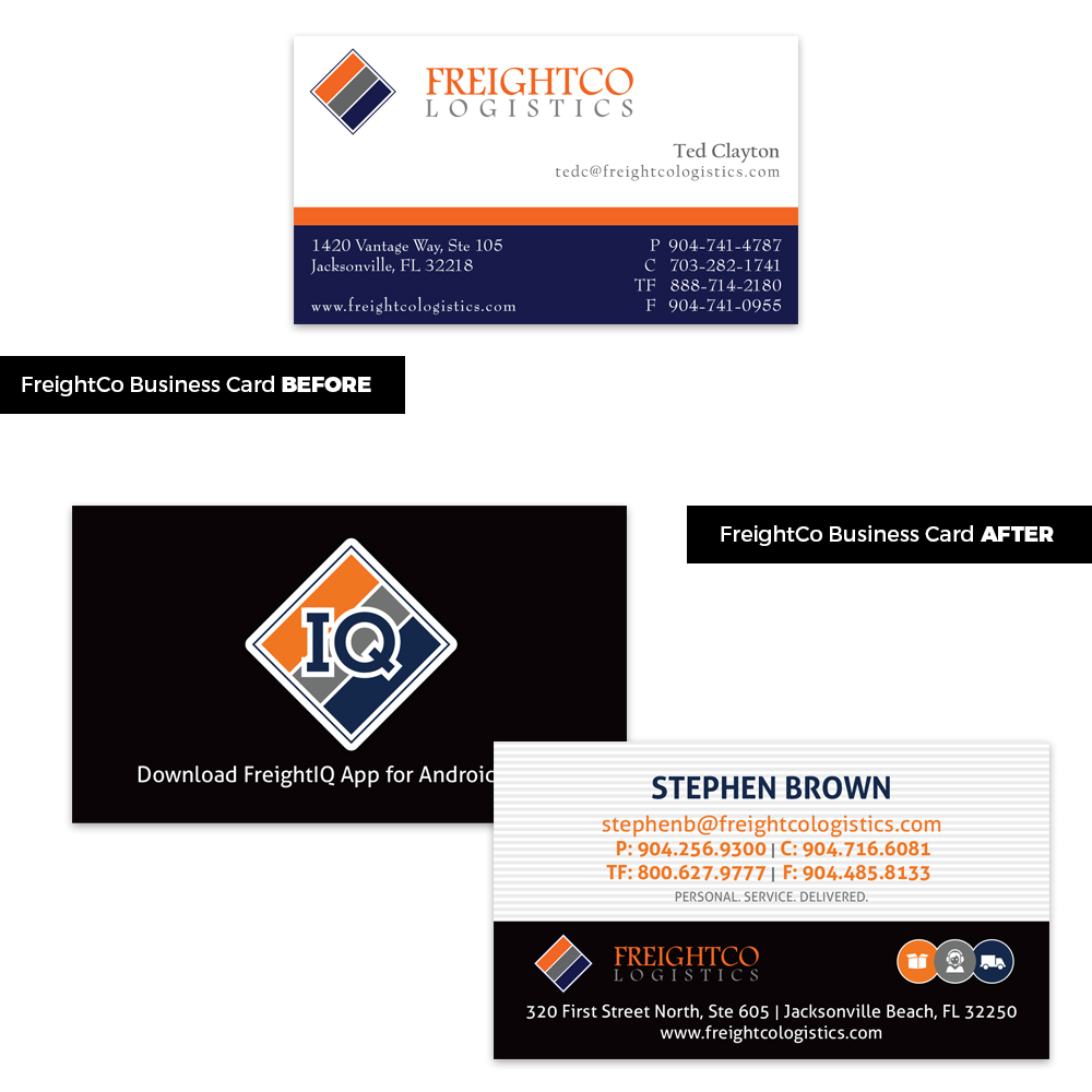 FreightCo Logistics Business Cards redesigned to match new branding as well as advertise the new FreightIQ App.
