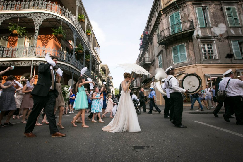 French Quarter Weddings Second Line, Bride and Groom