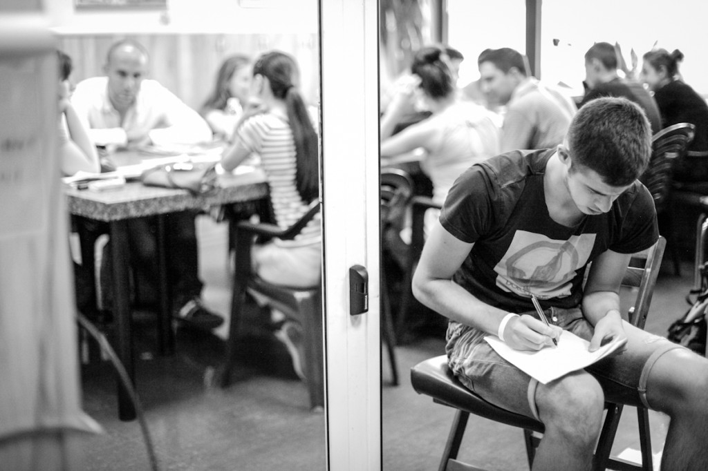 A student works on an English lesson taught by the MTW interns and team. They provide multiple English classes to adults in Sofia.