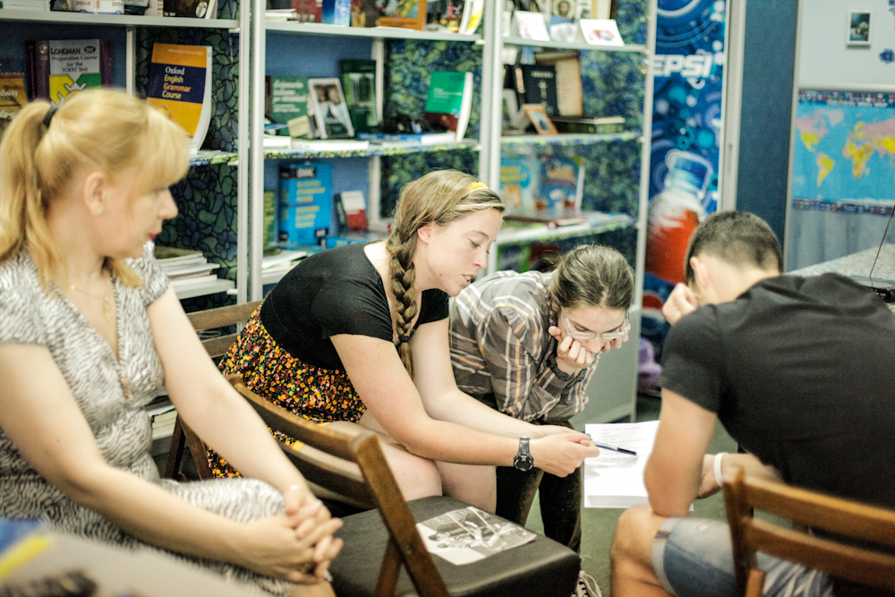 MTW Summer Inter, Jenny Ott, teaches Bulgarian students an English lesson.