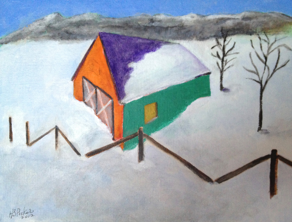 Picker_Barn in Snow_9x12_acr on canvas_2012_Collection of Justice Ruth Bader Ginsburg copy.jpg