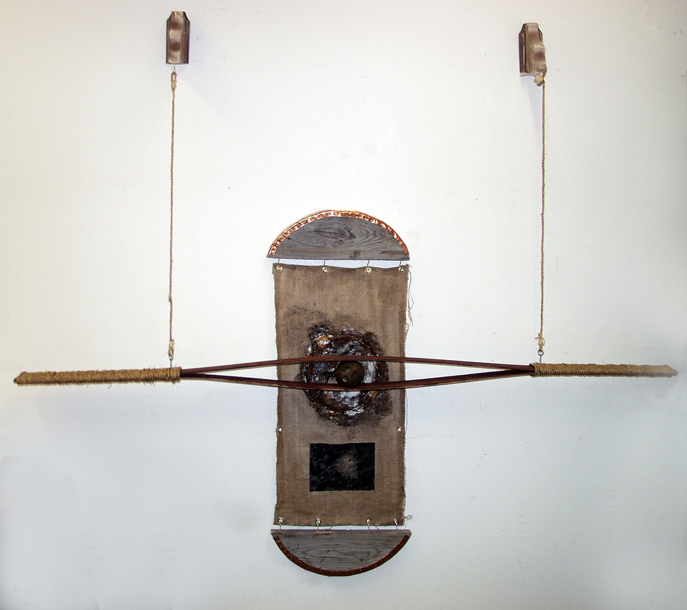 Prime Matter II, 2015, burlap, paint, wood, rope, coconut, and cooper