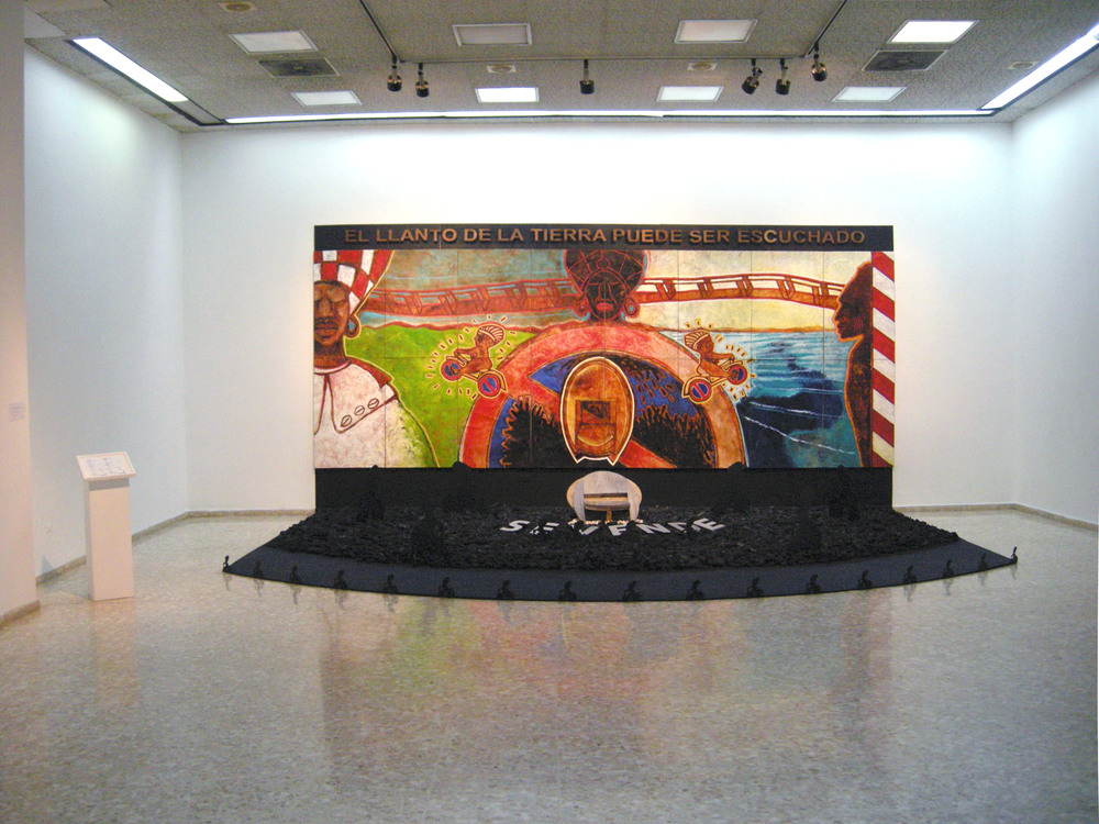The Crying of the Earth, 2010, Encaustic painting on linen, sculptures and organic material, 11' X 22' X 17'