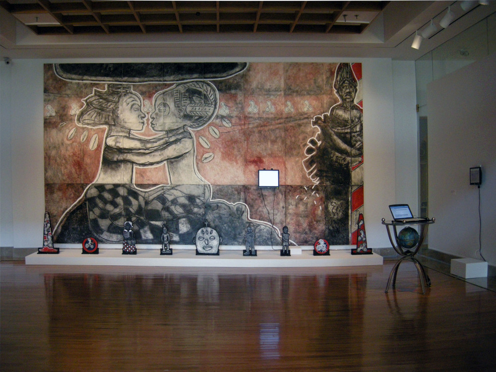 "Free Registry: Encounter, Mythology and Reality/Spirit of Slaves, 2008 Installation: Encaustic painting on Masonite, cut out shape on wood and Internet, 122"" X 144"" X 144"""