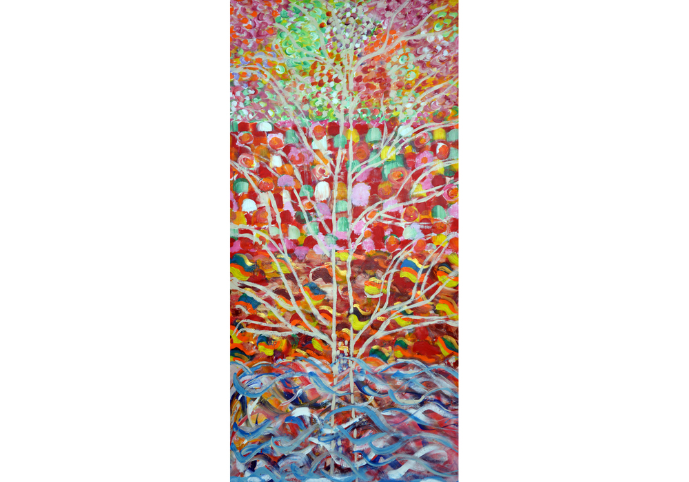 "Four Seasons, acrylic on canvas, 72"" x 36"", 2015"