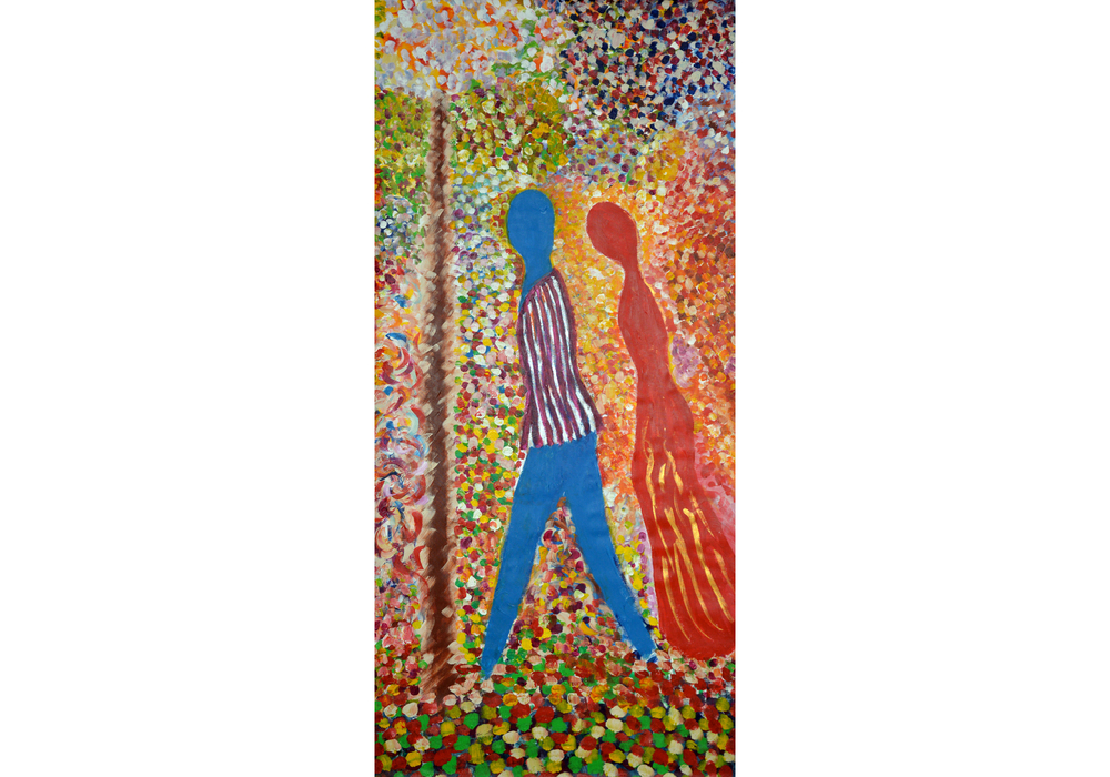 "In a Garden, acrylic on canvas, 74"" x 36"", 2015"