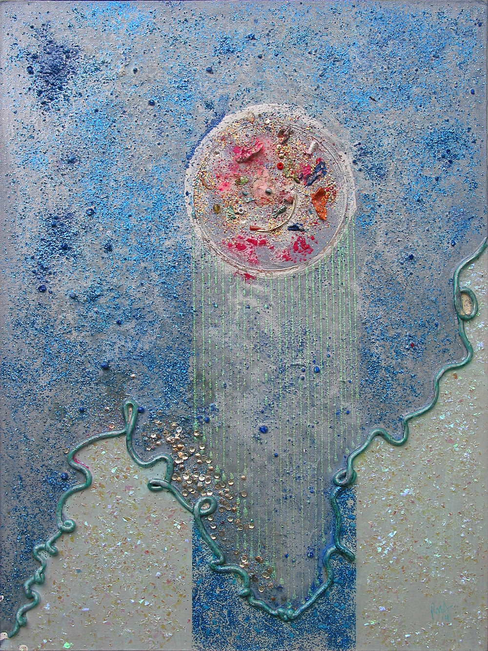 "Mystic Landscape and the Immediate Excitement of Starshine, 24"" x 18"", acrylic and glitter on canvas panel, 2014"