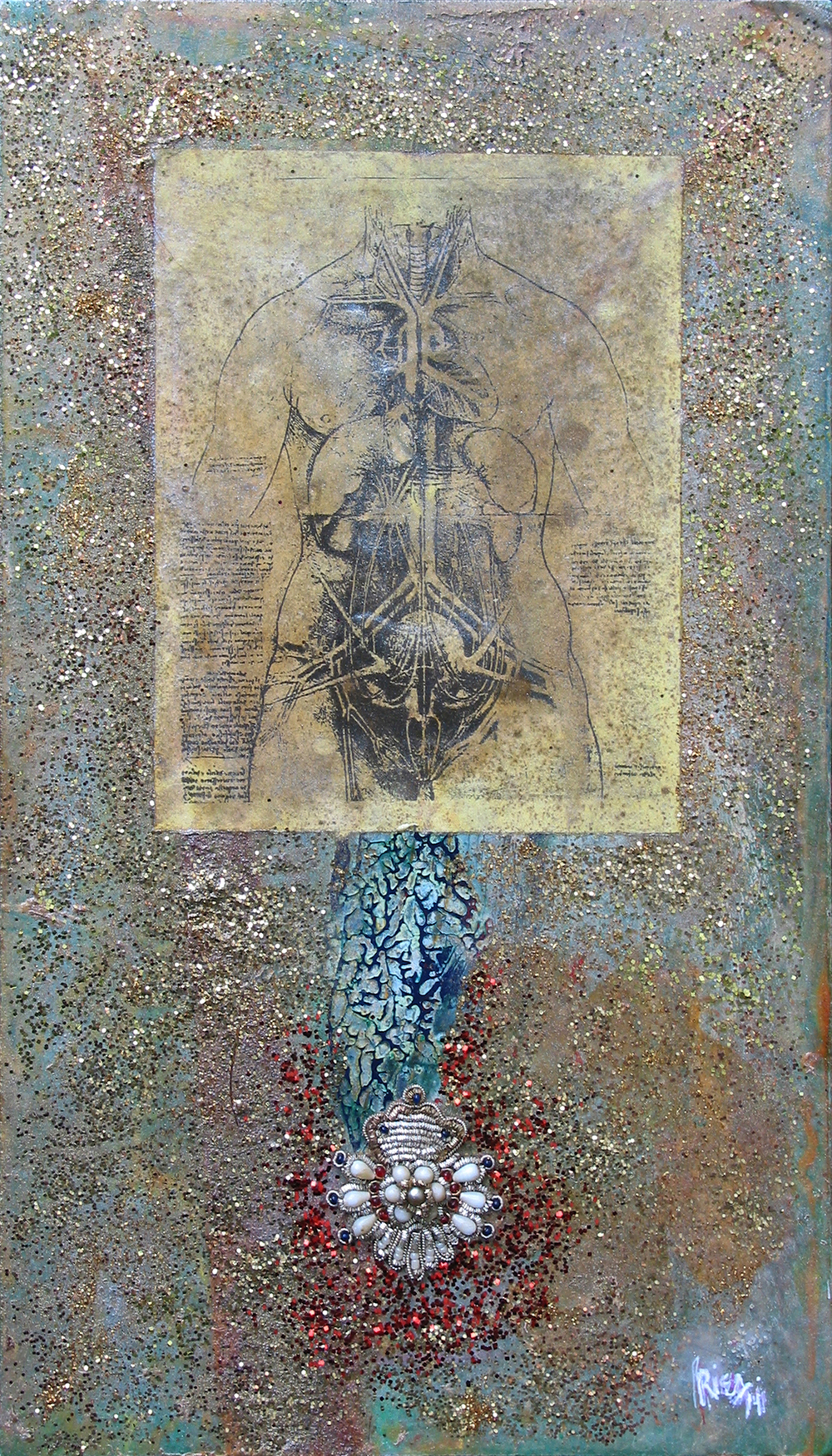 "Urino-Genital Systems in a Female Body: Homage to Leonardo da Vinci, 14"" x 8"", mixed media, 2014"