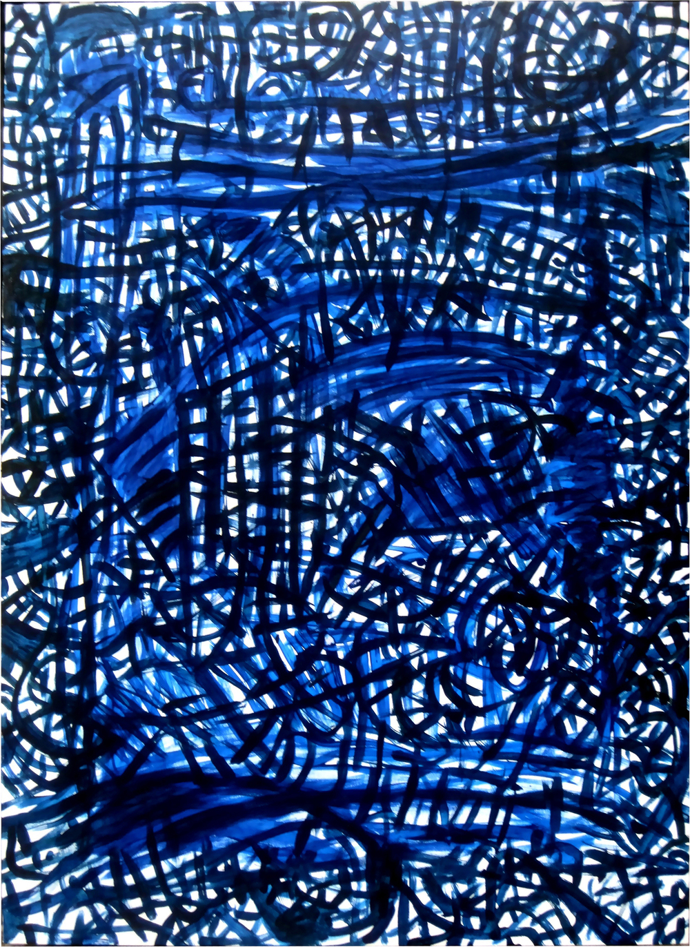 "Sound in Blue, acrylic on canvas, 44"" x 60"""