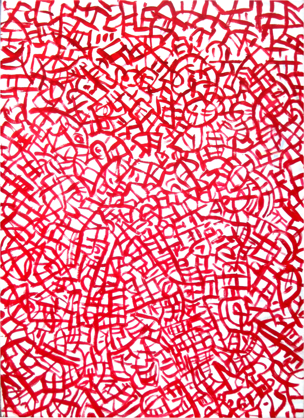 "Sound in Red, acrylic on canvas, 44"" x 60"""