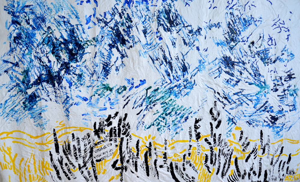 "Blue Sky, mixed media on silk, 48"" x 76"", 2015"