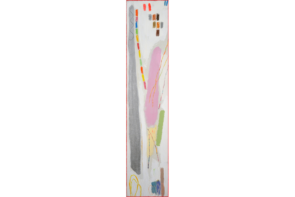 "The Silver Staff, mixed media on canvas, 36"" x 8"", 2015"