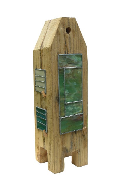 "Vashon, 22"" x 8"" x 8"", wood/stained glass/mixed media"