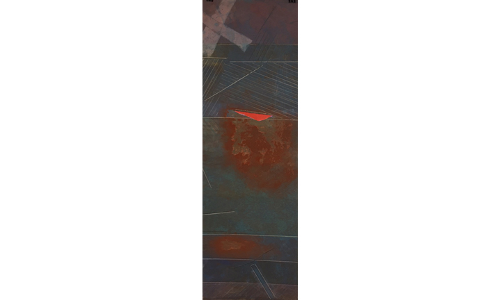 "Hallocks Bay, monotype on Japanese paper, 42"" x 17.5"", 2015"
