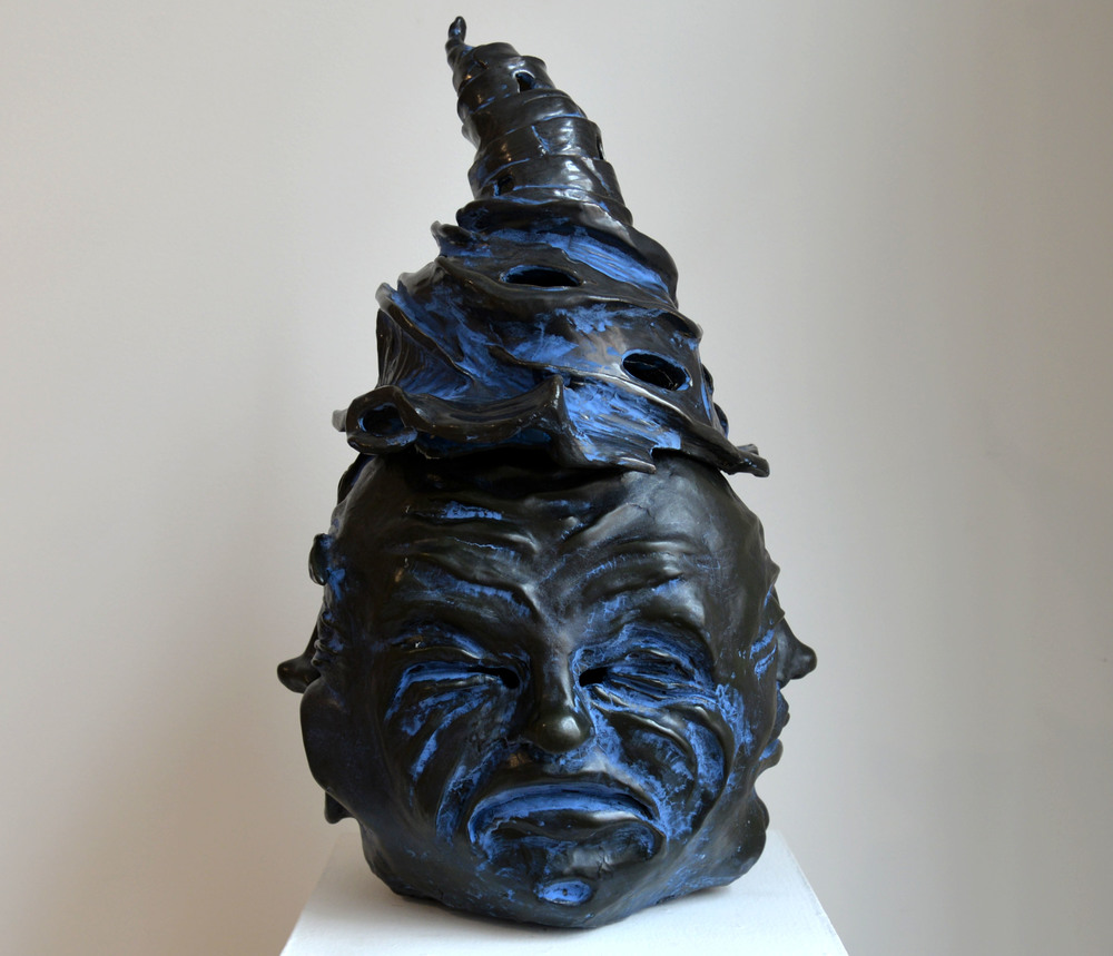 "Blue Buddha, Glazed ceramic, 23"" x 12"" x 12"", 2015"