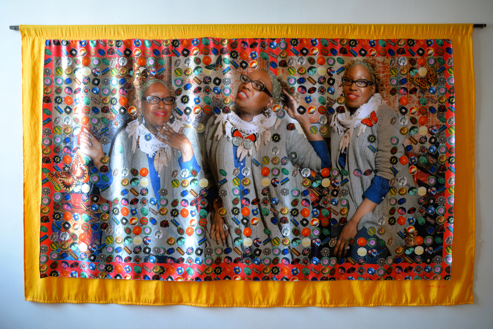 "The Secret Life of Beads, Dye sublimation print on fabric with fabric backing, 54.5"" x 90"", 2016"